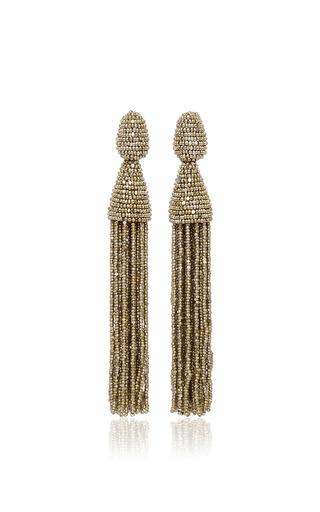 Medium oscar de la renta silver long beaded tassel earrings  3
