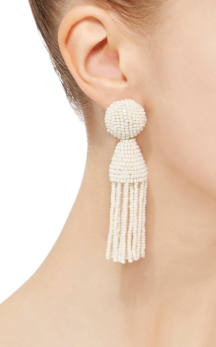 6bf6dbdfb54d7 Oscar de la RentaShort Champagne Tassel Earrings. CLOSE. Loading