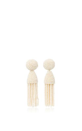 Medium oscar de la renta ivory short champagne tassel earrings