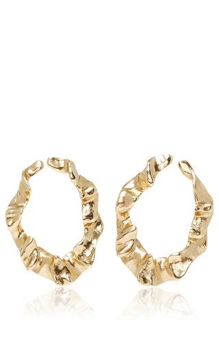 Medium oscar de la renta gold flounced hoop earrings