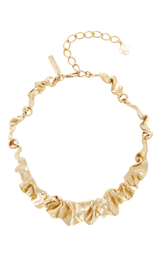 Medium oscar de la renta gold flounced necklace