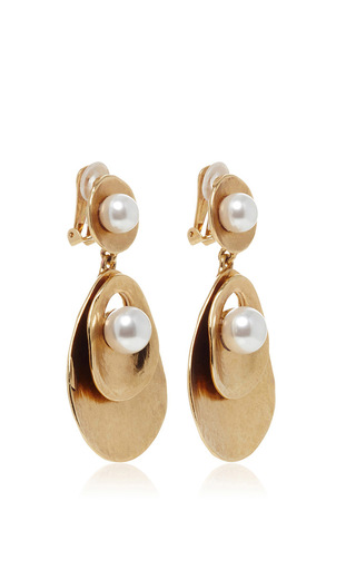 Pearl Gold Disc Drop Earrings by OSCAR DE LA RENTA Now Available on Moda Operandi