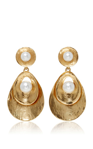 Medium oscar de la renta gold pearl gold disc drop earrings