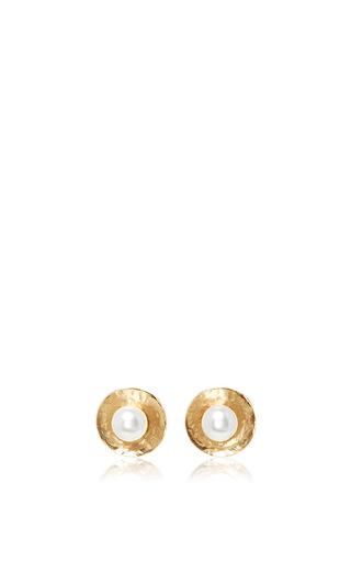 Medium oscar de la renta gold pearl gold disc button earrings