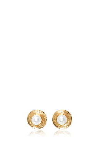 Medium oscar de la renta gold pearl gold disc button earrings