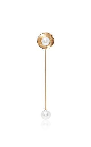 Medium oscar de la renta gold pearl gold disc pin brooch