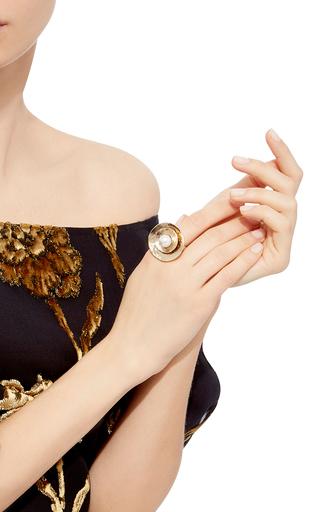 Large Pearl Gold Disc Ring by OSCAR DE LA RENTA Now Available on Moda Operandi