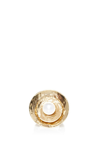 Medium oscar de la renta gold large pearl gold disc ring