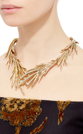Palm Leaf Necklace by OSCAR DE LA RENTA Now Available on Moda Operandi