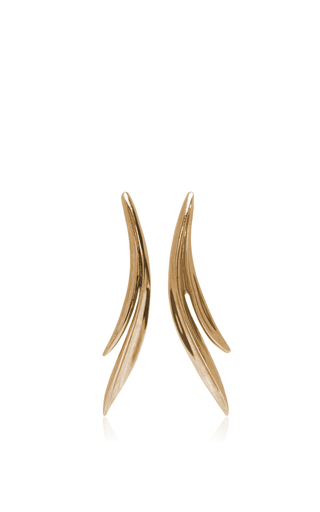 Medium oscar de la renta gold palm leaf earrings