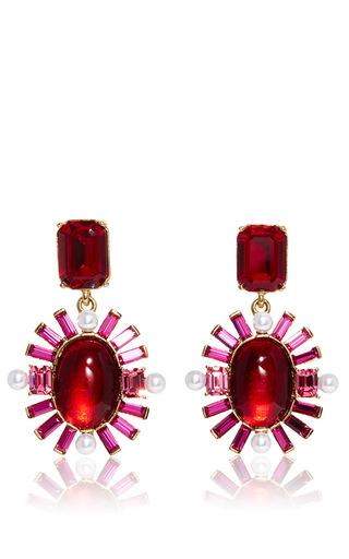 Medium oscar de la renta red oval multi stone earrings