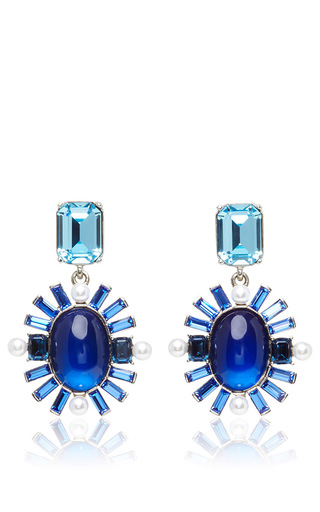 Medium oscar de la renta blue oval multi stone earrings  2
