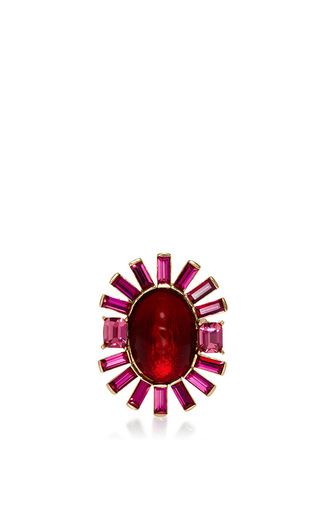 Medium oscar de la renta red bold oval multi stone ring