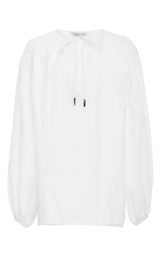 Medium prabal gurung white cotton tie neck blouse
