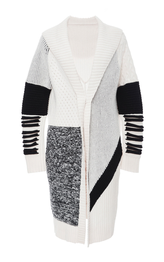 Medium prabal gurung black white black oversized shawl collar chunky knit cashmere cardigan
