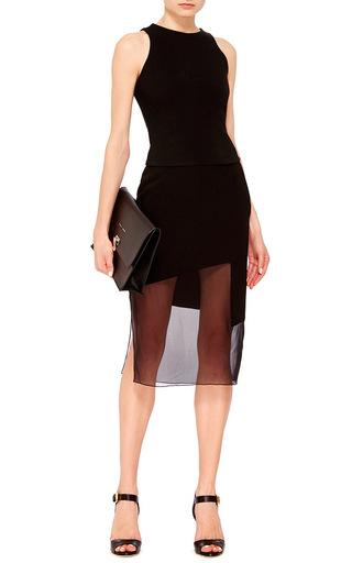 Black Crepe Chiffon Combo Pencil Skirt by PRABAL GURUNG Now Available on Moda Operandi
