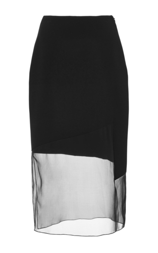 Medium prabal gurung black black crepe chiffon combo pencil skirt