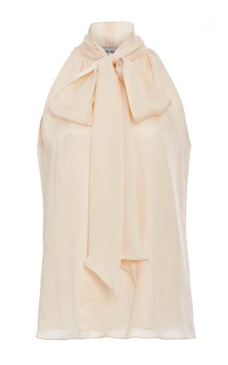 Medium prabal gurung neutral silk tie neck blouse
