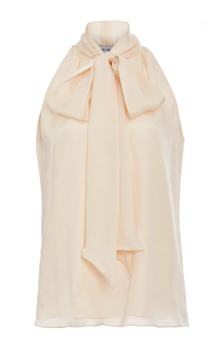 Medium prabal gurung neutral silk tie neck blouse