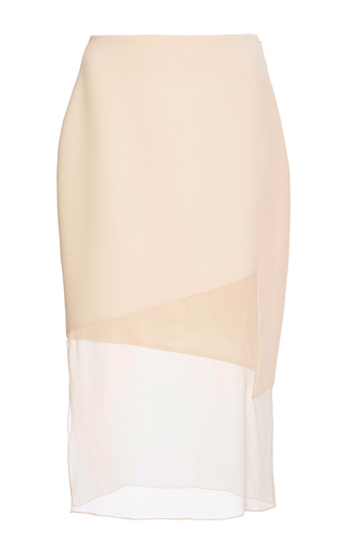 Medium prabal gurung neutral chiffon panel pencil skirt