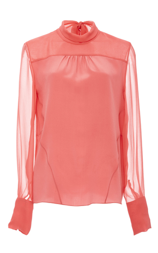 Medium prabal gurung pink melon silk crepe de chine tie back blouse