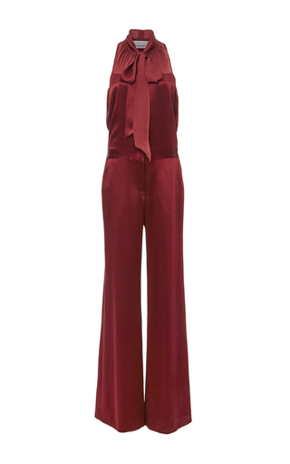 Medium prabal gurung red silk satin tie neck jumpsuit