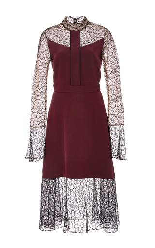 Medium prabal gurung burgundy embroidered lace combo dress