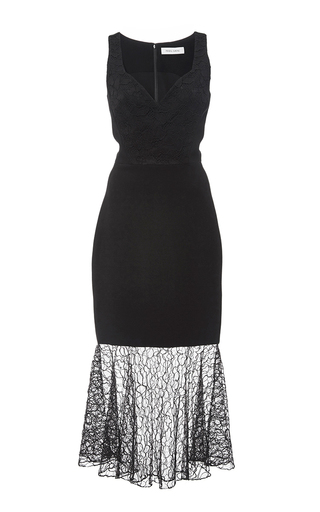 Medium prabal gurung black embroidered lace combo sweetheart sheath dress