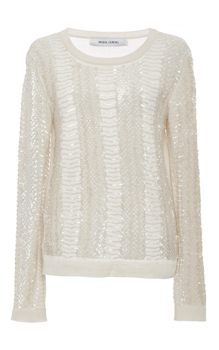 Medium prabal gurung ivory snake embroidered sweater