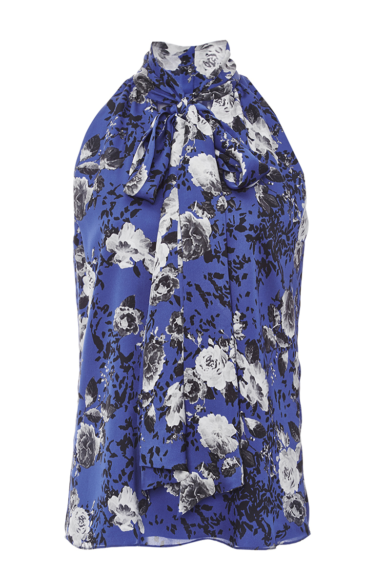 4944c0f17c3e30 Cobalt Floral Printed Chiffon Tie Neck Blouse by