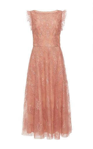 Medium monique lhuillier metallic metallic chantilly lace midi dress