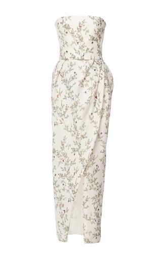 Medium monique lhuillier white silk gazar strapless midi dress