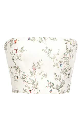 Medium monique lhuillier white silk gazar corset top