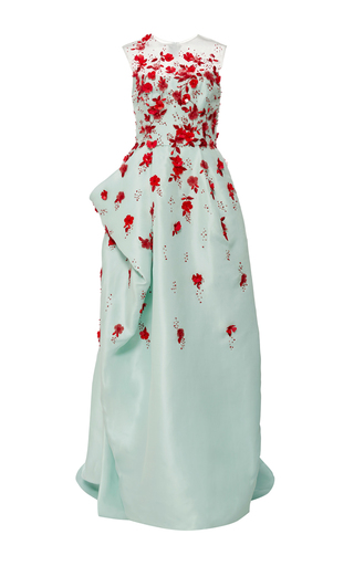 Medium monique lhuillier green embroidered sleeveless draped gown