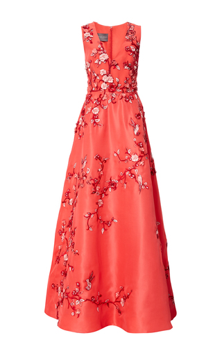 Medium monique lhuillier red embroidered sleeveless v neck gown