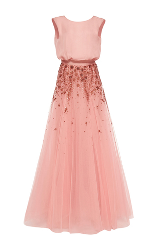 Medium monique lhuillier pink embroidered draped gown