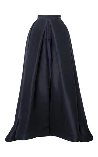 Medium monique lhuillier navy silk gazar open front ball skirt