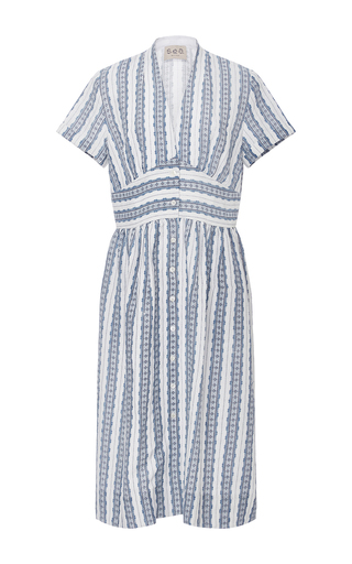 Medium sea stripe printed linen midi dress