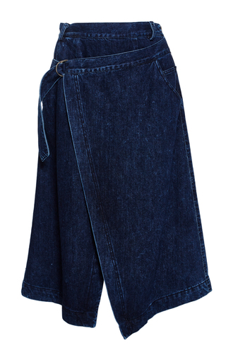 Medium sea blue denim wrap skirt