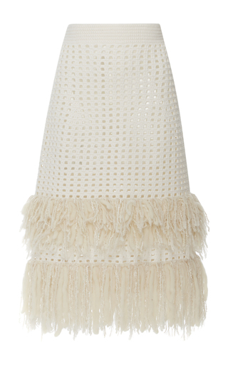 Medium spencer vladimir neutral sofia tiered fringe midi skirt