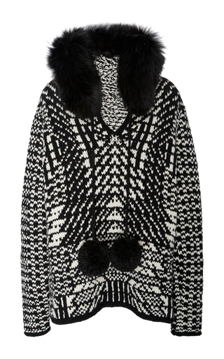 Medium spencer vladimir black white the elon fur hoodie