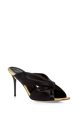 Medium oscar de la renta black glenn satin mules  2