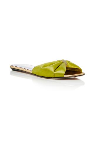 Medium oscar de la renta green mia satin slides  2