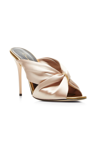 Medium oscar de la renta nude glen satin mules