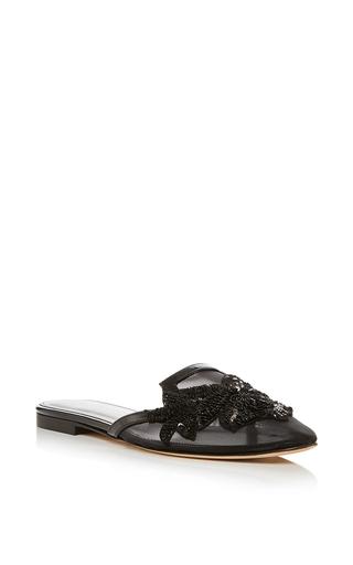 Medium oscar de la renta black patrizia embroidered slippers