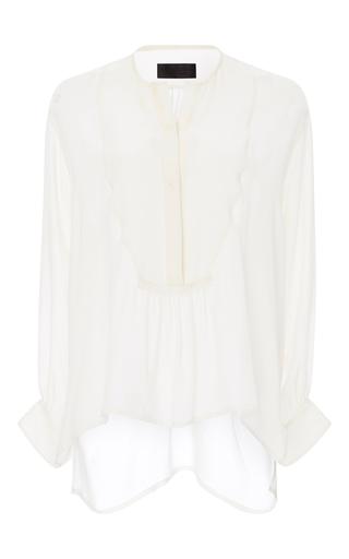 Medium nili lotan ivory silk tuxedo blouse