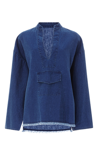 Medium nili lotan blue casablanca denim pullover