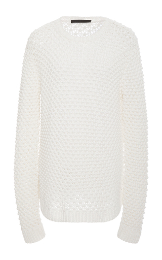 Medium jenni kayne white textured crew neck sweater