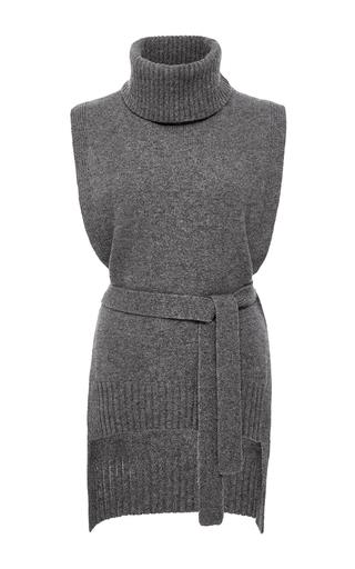 Medium rosetta getty light grey turtleneck poncho sweater