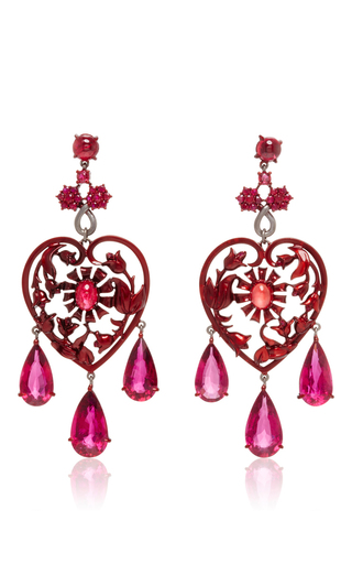 Medium lydia courteille red scarlet empress collection red sapphire earrings